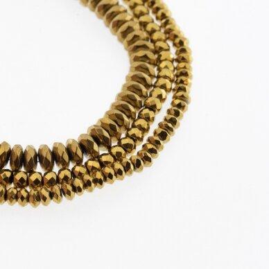 Hematitas, regeneruotas, briaunuotas, abacus rondelės forma, tamsaus aukso spalva, 39-40 cm/gija, 3x2 mm