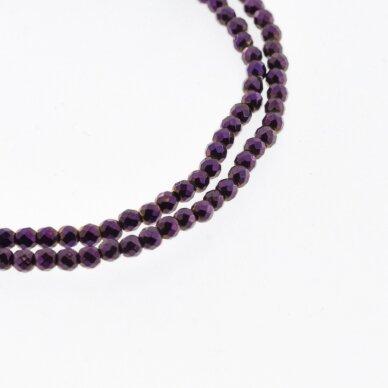 Hematitas, regeneruotas, briaunuotas, apvali forma, alyvinė spalva, 39-40 cm/gija, 2 mm