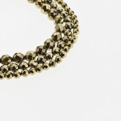 Hematitas, regeneruotas, briaunuotas, apvali forma, Chaki aukso spalva, 39-40 cm/gija, 2, 2.5, 3, 4, 5, 6, 8, 10, 12 mm