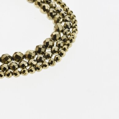 Hematite, Reconstituted, Faceted Round Bead, Khaki Gold, 39-40 cm/strand, 2, 2.5, 3, 4, 5, 6, 8, 10, 12 mm
