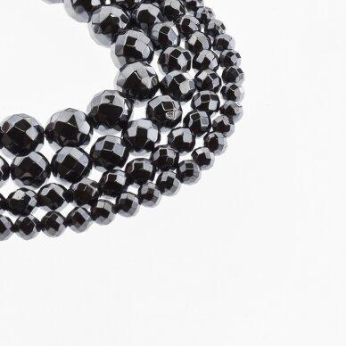 Hematitas, regeneruotas, briaunuotas, apvali forma, juoda spalva, 39-40 cm/gija, 2, 2.5, 3, 4, 5, 6, 8, 10, 12 mm