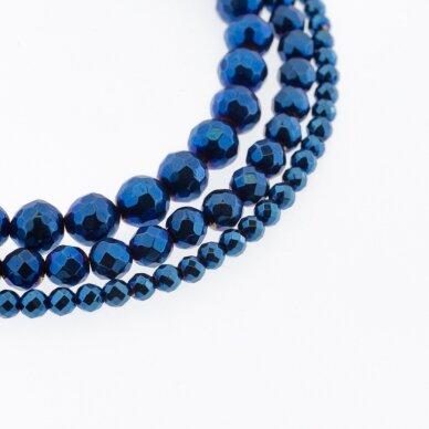Hematitas, regeneruotas, briaunuotas, apvali forma, mėlyna spalva, 39-40 cm/gija, 2 mm