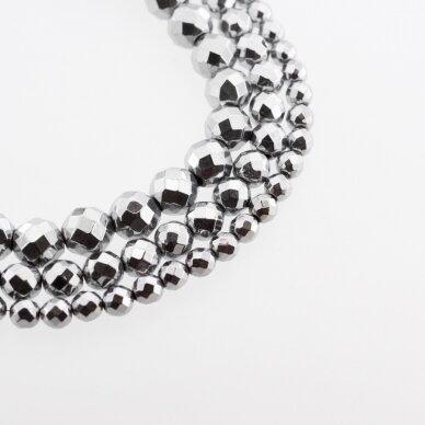 Hematite, Reconstituted, Faceted Round Bead, Nickel Grey, 39-40 cm/strand, 2, 2.5, 3, 4, 5, 6, 8, 10, 12 mm