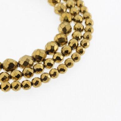 Hematite, Reconstituted, Faceted Round Bead, Dark Gold, 39-40 cm/strand, 2 mm