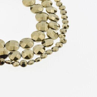 Hematitas, regeneruotas, briaunuotas, išgaubto disko forma, Chaki aukso spalva, 39-40 cm/gija, 4, 6, 8, 10, 12 mm