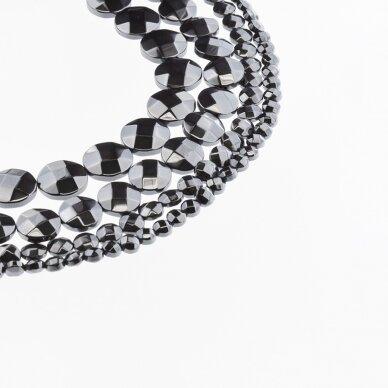 Hematitas, regeneruotas, briaunuotas, išgaubto disko forma, juoda spalva, 39-40 cm/gija, 4, 6, 8, 10, 12, 14 mm