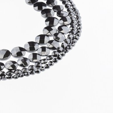 Hematite, Reconstituted, Faceted Puffed Disc Bead, Black, 39-40 cm/strand, 4 mm