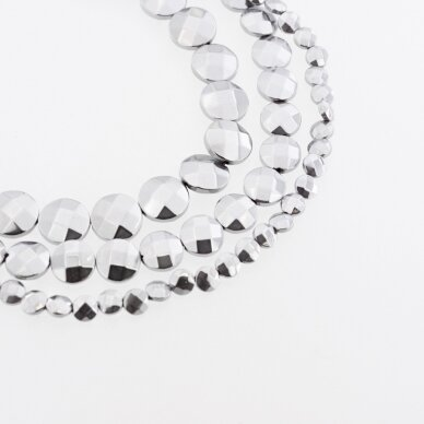 Hematitas, regeneruotas, briaunuotas, išgaubto disko forma, nikelio spalva, 39-40 cm/gija, 4, 6, 8, 10, 12 mm