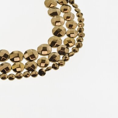 Hematite, Reconstituted, Faceted Puffed Disc Bead, Brown, 39-40 cm/strand, 4 mm