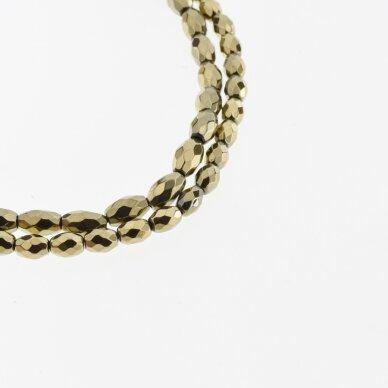 Hematitas, regeneruotas, briaunuotas, ovalo-ryžio forma, Chaki aukso spalva, 39-40 cm/gija, 3x5, 4x6, 5x8, 6x9, 6x12 mm