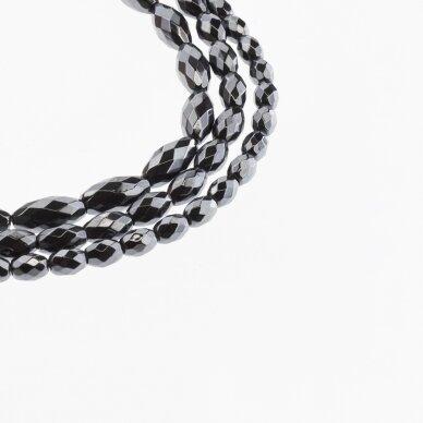 Hematitas, regeneruotas, briaunuotas, ovalo-ryžio forma, juoda spalva, 39-40 cm/gija, 3x5, 4x6, 5x8, 6x9, 6x12 mm