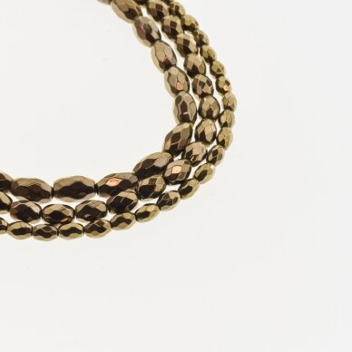 Hematite, Reconstituted, Faceted Oval Bead, Brown, 39-40 cm/strand, 3x5 mm