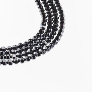 Hematitas, regeneruotas, briaunuotas, volelio forma, juoda spalva, 39-40 cm/gija, 2, 3, 4 mm