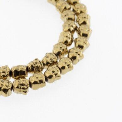 Hematitas, regeneruotas, Budos galvos forma, tamsaus aukso spalva, 39-40 cm/gija, 8 mm
