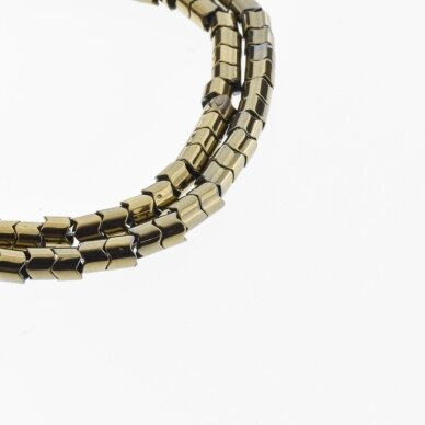 Hematite, Reconstituted, Gear Rondelle Bead, Khaki Gold, 39-40 cm/strand, 5x5, 7x7 mm