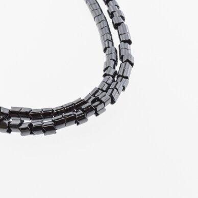 Hematitas, regeneruotas, dantračio rondelės forma, juoda spalva, 39-40 cm/gija, 5x5, 7x5 mm