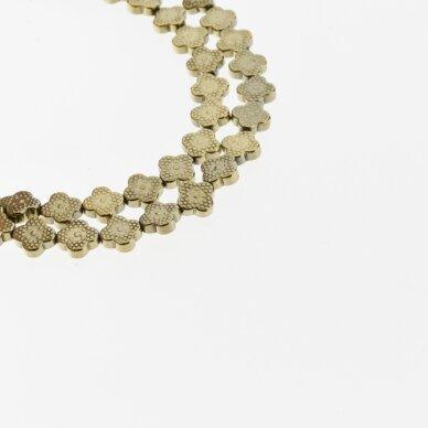 Hematitas, regeneruotas, dobilo forma, Chaki aukso spalva, 39-40 cm/gija, 8x8 mm