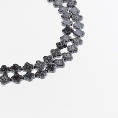 Hematite, Reconstituted, Four-leaf Clover Bead, Black, 39-40 cm/strand, 8x8 mm
