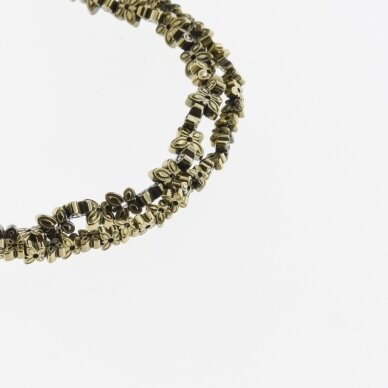 Hematite, Reconstituted, Butterfly Bead, Two Ways Drilled, Khaki Gold, 39-40 cm/strand, 4x2, 6x3 mm