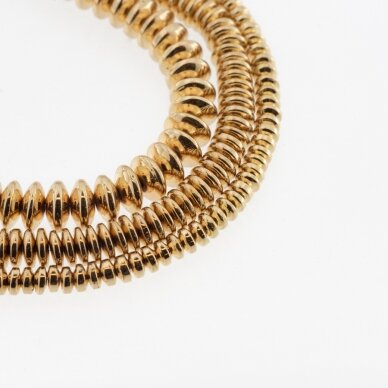 Hematitas, regeneruotas, galvanizuotas, abacus rondelės forma, aukso spalva, 39-40 cm/gija, 3x2 mm