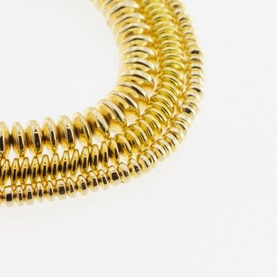 Hematitas, regeneruotas, galvanizuotas, abacus rondelės forma, geltonojo aukso spalva, 39-40 cm/gija, 3x2 mm