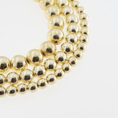 Hematitas, regeneruotas, galvanizuotas, apvali forma, extra šviesaus aukso spalva, 39-40 cm/gija, 1.5 mm