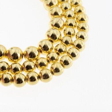 Hematitas, regeneruotas, galvanizuotas, apvali forma, šviesaus aukso spalva, 39-40 cm/gija, 1.5 mm