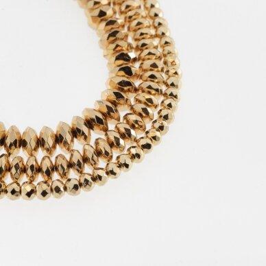 Hematitas, regeneruotas, galvanizuotas, briaunuotas, abacus rondelės forma, aukso spalva, 39-40 cm/gija, 3x2 mm
