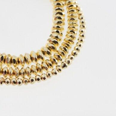 Hematitas, regeneruotas, galvanizuotas, briaunuotas, abacus rondelės forma, extra šviesaus aukso spalva, 39-40 cm/gija, 3x2 mm
