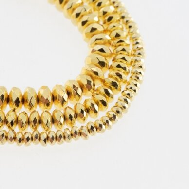Hematitas, regeneruotas, galvanizuotas, briaunuotas, abacus rondelės forma, geltonojo aukso spalva, 39-40 cm/gija, 3x2 mm