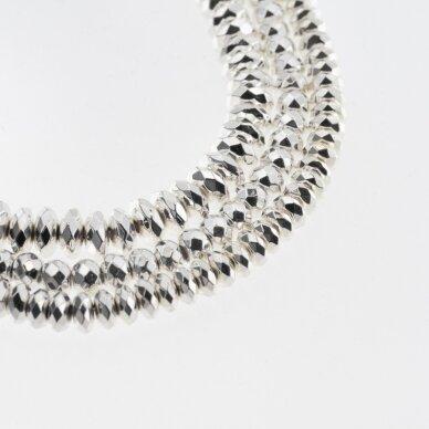 Hematitas, regeneruotas, galvanizuotas, briaunuotas, abacus rondelės forma, sidabro spalva, 39-40 cm/gija, 3x2 mm