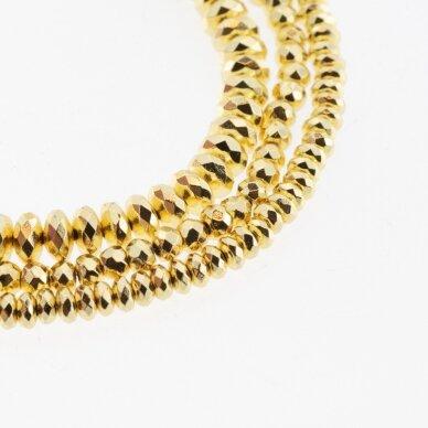 Hematitas, regeneruotas, galvanizuotas, briaunuotas, abacus rondelės forma, šviesaus aukso spalva, 39-40 cm/gija, 3x2 mm