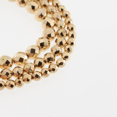 Hematitas, regeneruotas, galvanizuotas, briaunuotas, apvali forma, aukso spalva, 39-40 cm/gija, 2 mm