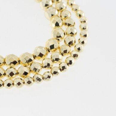 Hematitas, regeneruotas, galvanizuotas, briaunuotas, apvali forma, extra šviesaus aukso spalva, 39-40 cm/gija, 2 mm