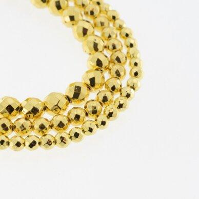 Hematitas, regeneruotas, galvanizuotas, briaunuotas, apvali forma, geltonojo aukso spalva, 39-40 cm/gija, 2 mm