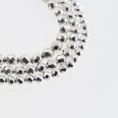 Hematitas, regeneruotas, galvanizuotas, briaunuotas, apvali forma, sidabro spalva, 39-40 cm/gija, 2 mm