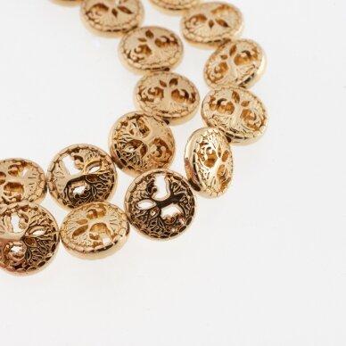 Hematitas, regeneruotas, galvanizuotas, gyvybės medžio forma, tuščiaviduris, aukso spalva, 39-40 cm/gija, 12 mm
