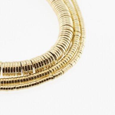 Hematitas, regeneruotas, galvanizuotas, heishi rondelės forma, extra šviesaus aukso spalva, 39-40 cm/gija, 2x1 mm