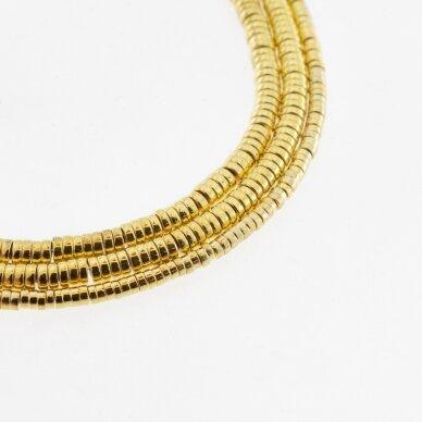 Hematitas, regeneruotas, galvanizuotas, heishi rondelės forma, geltonojo aukso spalva, 39-40 cm/gija, 2x1 mm