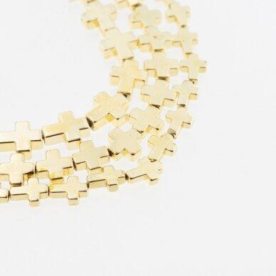 Hematitas, regeneruotas, galvanizuotas, kryželio forma, extra šviesaus aukso spalva, 39-40 cm/gija, 4x4 mm