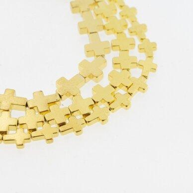 Hematitas, regeneruotas, galvanizuotas, kryželio forma, geltonojo aukso spalva, 39-40 cm/gija, 4x4 mm