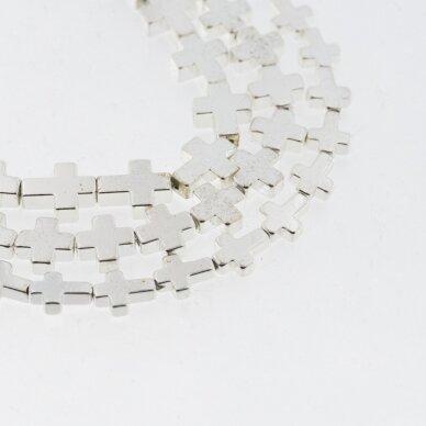 Hematitas, regeneruotas, galvanizuotas, kryželio forma, sidabro spalva, 39-40 cm/gija, 4x4 mm