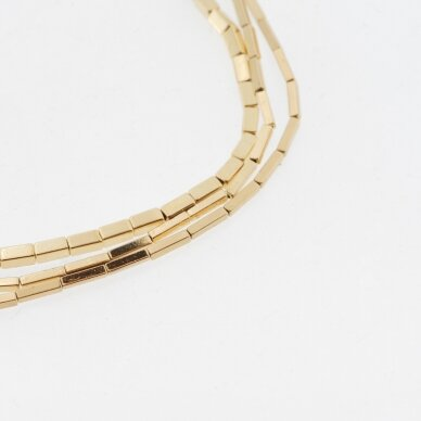 Hematitas, regeneruotas, galvanizuotas, kvadratinio vamzdžio forma, aukso spalva, 39-40 cm/gija, 1x3 mm
