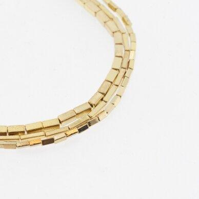 Hematitas, regeneruotas, galvanizuotas, kvadratinio vamzdžio forma, extra šviesaus aukso spalva, 39-40 cm/gija, 1x3 mm