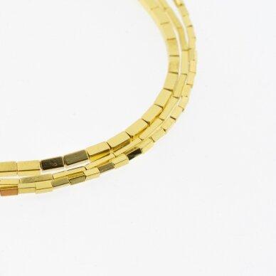 Hematitas, regeneruotas, galvanizuotas, kvadratinio vamzdžio forma, geltonojo aukso spalva, 39-40 cm/gija, 1x3 mm