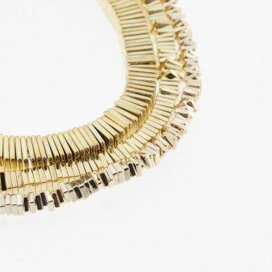 Hematitas, regeneruotas, galvanizuotas, kvadrato rondelės forma, extra šviesaus aukso spalva, 39-40 cm/gija, 2x1 mm