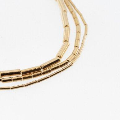 Hematitas, regeneruotas, galvanizuotas, vamzdžio forma, aukso spalva, 39-40 cm/gija, 1x2 mm