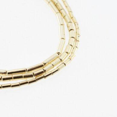 Hematitas, regeneruotas, galvanizuotas, vamzdžio forma, extra šviesaus aukso spalva, 39-40 cm/gija, 1x2 mm