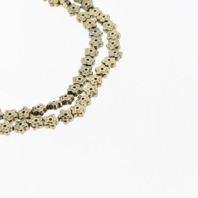 Hematitas, regeneruotas, gėlės forma, du gręžimo būdai, Chaki aukso spalva, 39-40 cm/gija, 6x3 mm