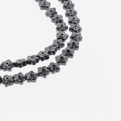 Hematite, Reconstituted, Flower Bead, Two Ways Drilled, Black, 39-40 cm/strand, 6x3 mm